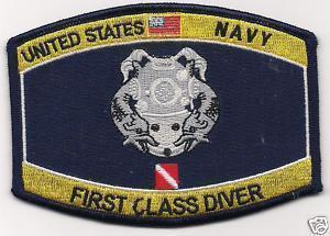 US Navy First Class Diver Patch
