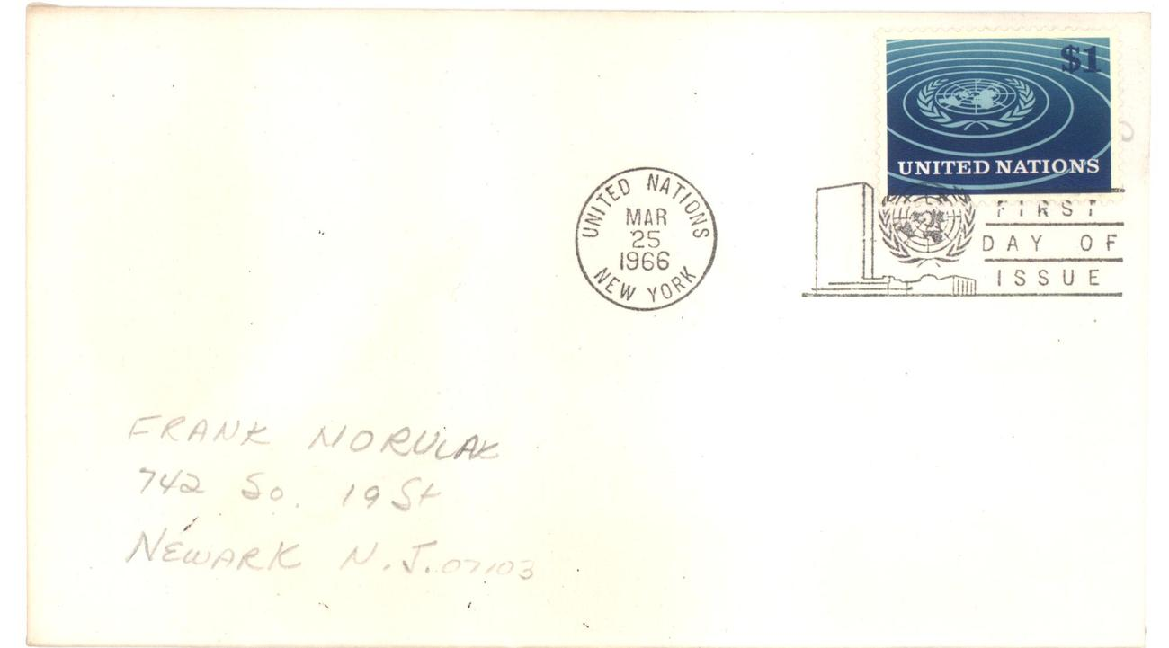 Primary image for United Nations $1 First Day Cover 1966