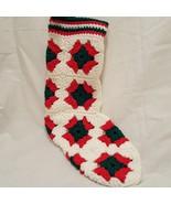 "Vintage Stocking Granny Square Crochet Handmade White Red Green 15"" - $19.99"