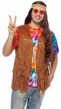 Disfraz Cultura Hippie Flequillo Chaleco 70s Marrón Adulto Hombre Halloween - $17.85