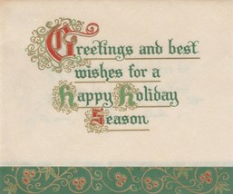 Vintage Christmas Card Greetings and Best Wishes Parchment Hallmark Gold... - $6.92