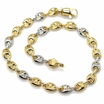18K YELLOW WHITE GOLD MARINER BRACELET 5 MM, 8.5 INCHES, ANCHOR ROUNDED LINK image 1