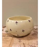 Vintage Round Hand Painted Planter Purple Flowers Succulent Cacti Planter - $10.99