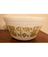 """Federal Glass Mixing Bowl, 6"""" Milk Glass, Olive Green Asian Floral Vintage - $12.99"""