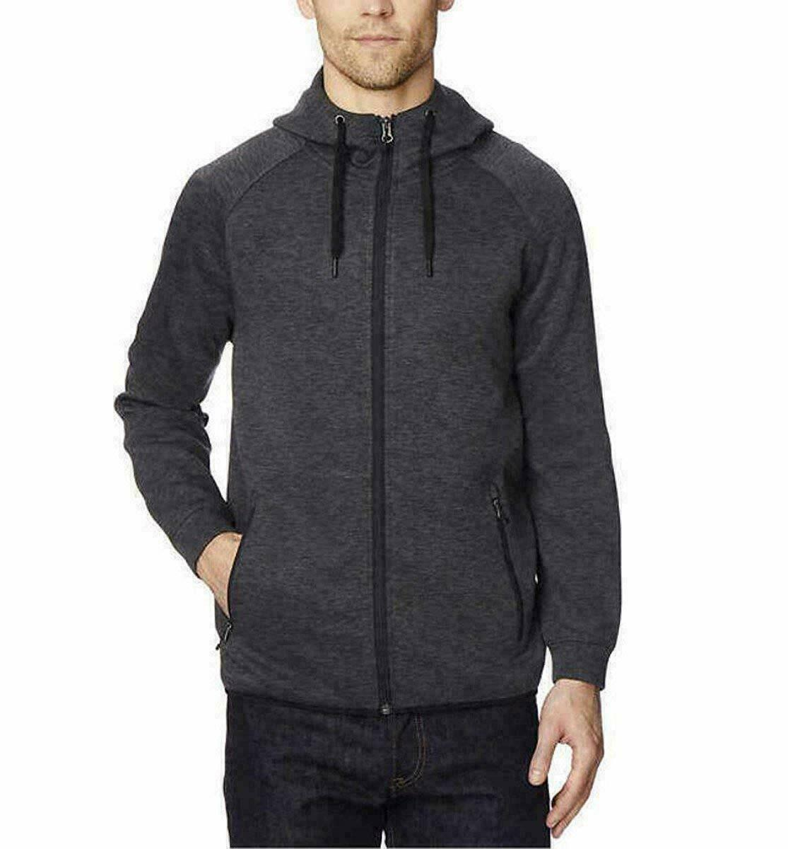 32 Degrees Men's Gray Tech Fleece Full Zip Hoodie Sweatshirt XL X-Large NWT