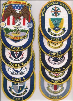 US Navy USS T-AKE- 1 - 11 Patches