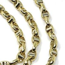 """18K YELLOW WHITE GOLD CHAIN SAILOR'S NAVY MARINER LINK BIG OVAL 5 MM, 24"""" image 3"""