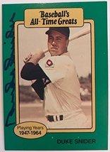 Duke Snider Signed Autographed 1987 Hygrade All Time Greats Baseball Car... - $19.79
