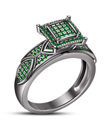 14k Black Gold Over 925 Silver Round Cut Green Sapphire Women's Engageme... - $87.99