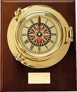 Wall Clock Wood Brass Porthole Ck043Mw Quartz Sea Power Interior Decor G... - £396.00 GBP
