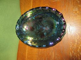 Vintage Iridescent Blue Carnival Glass 4 Footed Center Piece Fruit Bowl-Grape image 4