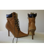 Womens Tan Wheat Suede Workboot Wood Stiletto Booties Boots 9 - $28.00