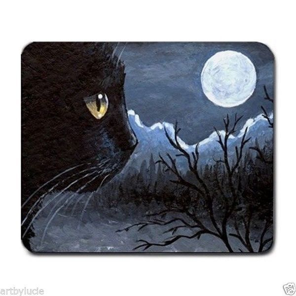 Mousepad Mouse Pad Computer Mat black Cat 534 moon blue art by L.Dumas