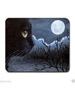 Mousepad Mouse Pad Computer Mat black Cat 534 moon blue art by L.Dumas - £12.15 GBP