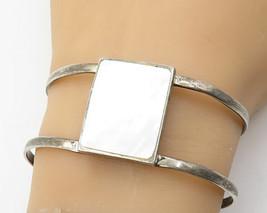925 Sterling Silver - Vintage Mother Of Pearl Open Work Cuff Bracelet - B3022 - $104.14