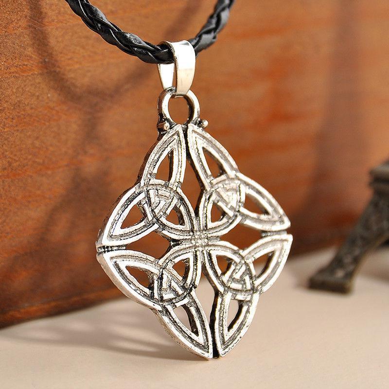 Vintage Celtic Knot Cross Pentagram Star Metal Silver Pendant Choker Necklace TR