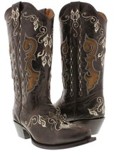 womens brown all real leather western cowboy boots overlay cowgirl rodeo... - $179.99