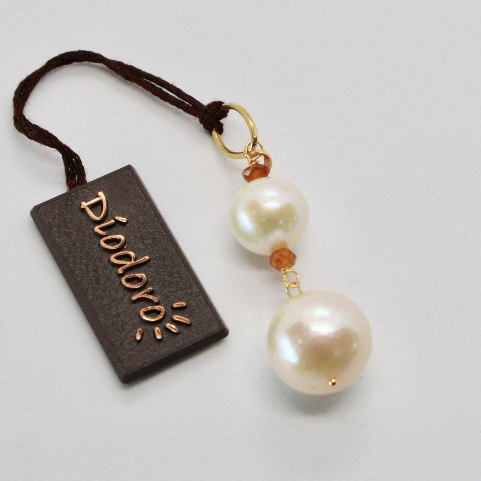 PENDANT YELLOW GOLD 18KT WITH WHITE PEARLS OF WATER DOLCE AND CITRINE NATURAL