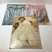 3 Baby Afghans Pattern Books Knit Crochet Leisure Arts - $14.50