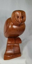 "Hard Carved Barn OWL on Perch Figurine Vintage 7"" - $39.99"