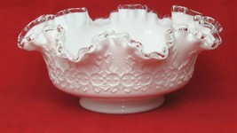 Fenton White Spanish Lace Silver Crest Glass Bowl with  Ruffled Edge Old... - $35.64