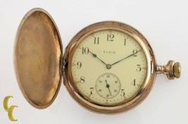 Yellow Gold Filled Antique Elgin Full Hunter Pocket Watch Gr 344 12S 17-... - $153.50