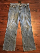 DKNY East Village Jeans Womens Sz 14 Boot Cut Dark wash denim 33x30 - $14.00