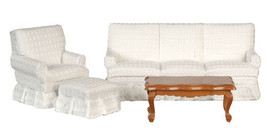DOLLHOUSE MINIATURES 4 PC WALNUT AND WHITE LIVING ROOM SET #T6663 - $39.59
