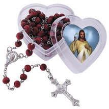 Rosary, Rose Scented wooden beads with Divine heart box with Jesus praye... - $9.95