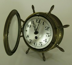 ANTIQUE NAUTICAL CLOCK Salem Ships Wheel SOLID BRASS 8 Day Jeweled Maritime - $112.19