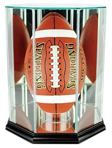 Football Display Case - Upright with Glass Top and Octagon Black Base
