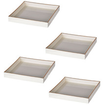 "Set Of 4 Mimosa Square Tray 8.5x8.5"" White - 42539-WHIT - £44.97 GBP"