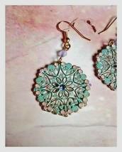 Avon SWEET SORBET aqua blue filigree dangle earrings tiny crystals & beads NIB - $10.95