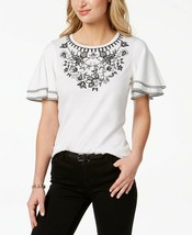 CHARTER CLUB White Cotton/Modal Floral Embroider Short Flutter Sleeve To... - $11.53