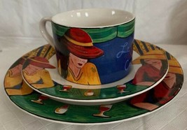 Sango Le Cafe Salad Plate, Cup & Saucer Ladies Goblets Bohemian Dinnerwa... - $19.79