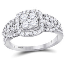 10k White Gold Womens Round Diamond Square Cluster Fashion Ring 1-1/4 Cttw - $1,067.86