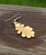 Single Earring, Real Leaf Dipped in 24K Yellow Gold, Focal Pendant - $25.00