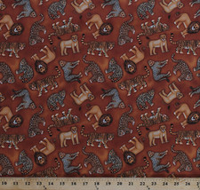 Lions Tigers Leopards Big Cats Animals Brown Cotton Fabric Print by Yard... - $9.95