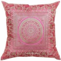 Mandala Kissenbezug Seide Brokat Sofa Wurf Indisch Wohndeko Pink 43.2cm - $8.86