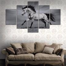 5 Panels Black White Horse Print On Canvas Home... - $29.99 - $79.99