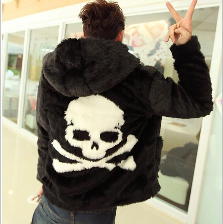 Winter New Men Faux Rabbit Fur Overcoats Skull Pattern Fashion Hoodie Coats