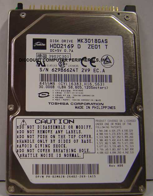 MK3018GAS Toshiba HDD2169 30GB 2.5in 9.5MM IDE 44PIN Drive Tested Free USA Ship