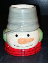Hallmark Snowman Head ceramic candle holder Jan Karon - $4.99