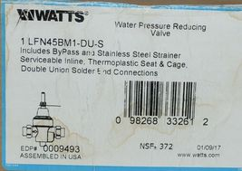 Watts Water Pressure Reducing Valve 0009493 Double Union Solder End Connections image 6