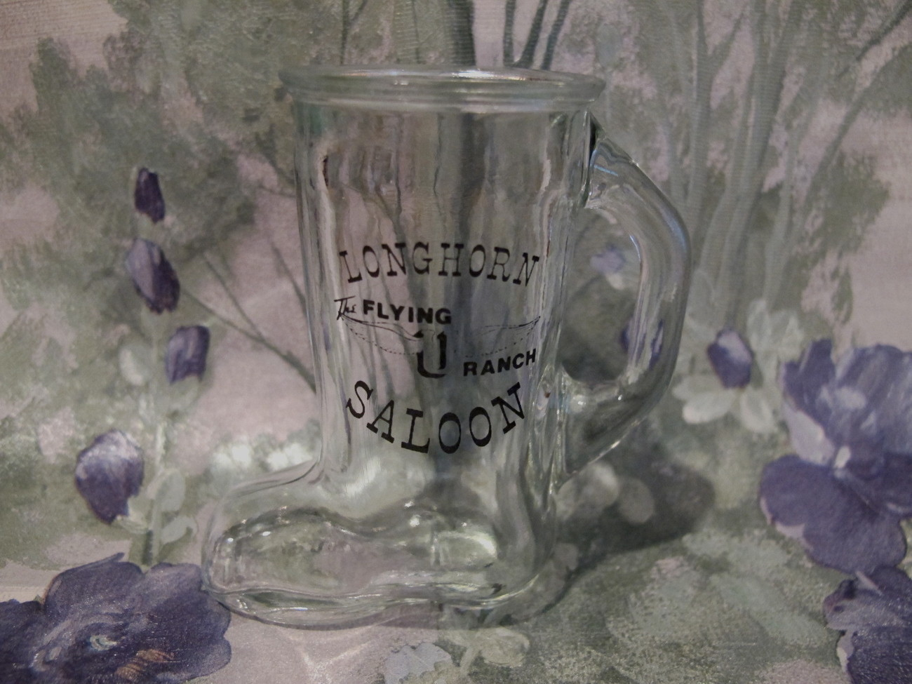 Primary image for The Flying U Ranch Longhorn Saloon Cowboy Boot Shot Glass Souvenir Collector