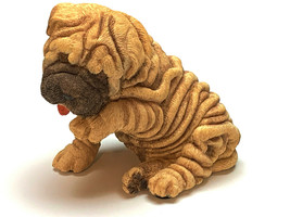 SHAR PEI PUPPY DOG Figurine Statue Hand Painted Resin Living Stone - $17.50