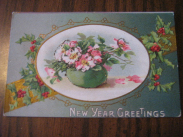 Lot of five Early 1900s New Year Postcards