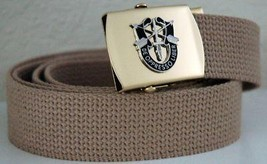 US Army Special Forces Khaki Belt & Brass Buckle - $14.99