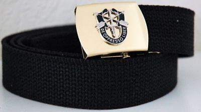 US Army Special Forces Black Belt & Brass Buckle