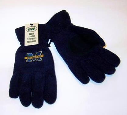 Michigan Wolverines Mens Lined Navy Fleece Gloves Med Bonanza
